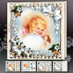 Winter Christmas Girl Angel With Bird by Atlic Snezana Winter Christmas Girl Angel With Bird 4 sheets for print with decoupage for 3D effect plus few sentiment tags (for your own personal text)