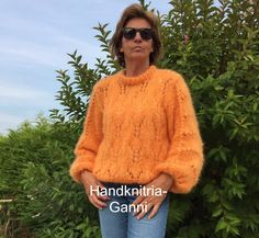 Mohair and wool beauty in oranje My OWN version of the ganni sweater www.handknitria.be choose your OWN colour