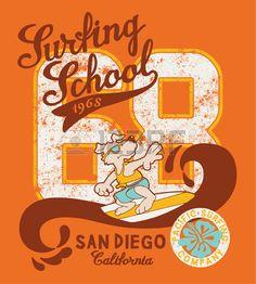 Cute surfing dog school artwork for kid t shirt in custom colors Stock Vector
