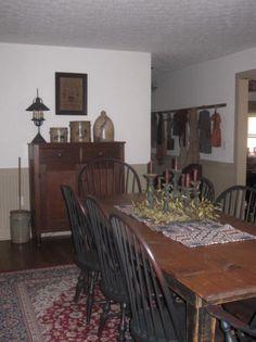 www.picturetrail.... Primitive Dining Rooms, Country Dining Rooms, Primitive Furniture, Primitive Kitchen, Primitive Country, Country Living, Prim Decor, Primitive Decor, Country Decor