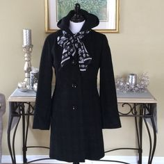 """✨ESPRIT SINGLE BREASTED HOODED COAT✨ Worn only once!  Classic single breasted,hooded,coat!  So stylish. It is black with a charcoal gray plaid.  2 side slit pockets. Measurements when laying flat are: underarm to underarm 19"""", waist 17"""", length is 34"""". ESPRIT Jackets & Coats"""