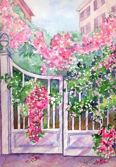 Roses White Gate Watercolor Spring Digital by KrysPettitArtwork, $20.00