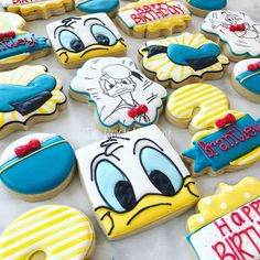 """1,090 Likes, 85 Comments - The Frosted Cookiery (@thefrostedcookiery) on Instagram: """"I love me some Donald Duck!  #donaldduck #donaldduckcookies #customcookies #custombirthdaycookies…"""""""