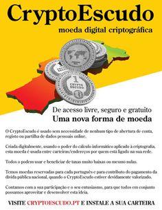 Moeda digital criptográfica. O novo escudo da era digital. Saiba mais em www.cryptoescudo.pt - #portugal #economia #dívida