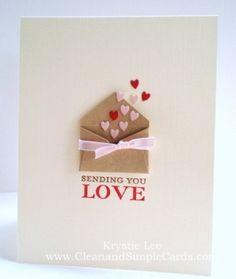 Sending You Love card - valentine's day card idea! Unique Valentines Day Gifts, Valentine Day Love, Valentine Day Crafts, Handmade Valentines Cards, Homemade Valentines Day Cards, Valentines Day Cards Handmade, Tarjetas Diy, Heart Cards, Paper Cards