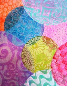 "Printing and Stamping with our NEW 4"" and 6"" Round Gelli™ Plates! Create images using your favorite texture tools and techniques. I've used stencils, rubbing plates, embossed paper, combs, and a variety of found textures like corrugated cardboard and bubble wrap. There's lots of room to play when you're printing up a larger piece of fabric!"