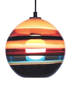 I am obsessed with colorful glass pieces and from vessels to lights, Caleb Siemon's work delights! Cranberry Orb Pendant @calebsimon