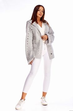 Dłuższy sweter z kapturem -szary White Jeans, Pants, Fashion, Moda, Trousers, Fashion Styles, Women Pants, Women's Pants, Fashion Illustrations
