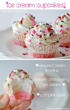 Ice Cream Cupcakes!  Make these for a party and you wont have to scoop ice cream or cut cake when it comes time to serve!