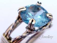Aquamarine Wire Wrapped Prong Ring in Sterling Silver UK size N, £40
