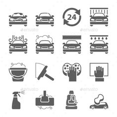 Buy Car Wash Black Icons Set by kuroksta on GraphicRiver. Car wash icons set on white – vector illustration. Cleaning Icons, Car Wash Business, Car Wash Services, Clean Washer, Restaurant Icon, Car Fix, Best Icons, Auto Service, Custom Quilts