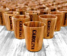 These decorative shot glasses are 100% reclaimed and 100% pallet wood! They were made for Carolina Shoe to use as giveaway items (keep an eye on their socials to see...