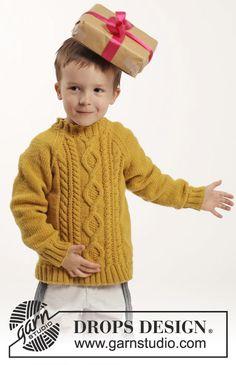 """Lucky Jack / DROPS Children 26-3 - Gestrickter DROPS Pullover in """"Merino Extra Fine"""" mit Zopfmuster und Raglanärmeln. Gr. 2 - 10 Jahre. - Free pattern by DROPS Design"""
