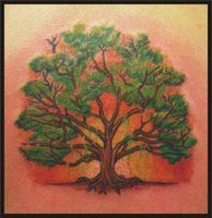 tree tattoo by zombiebe10u (reminds me of the big oak trees adorned with Spanish moss in Savannah)