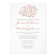 Coral Beach Wedding Invitation