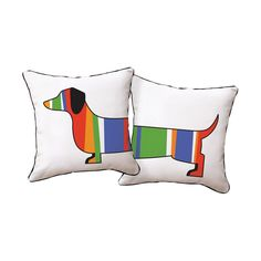Naked Decor // Striped Dachshund Dog Decorative Pillow