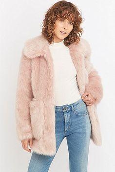 Jakke Tammy Pink Faux-Fur Coat