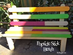 life-size popsicle stick bench DIY
