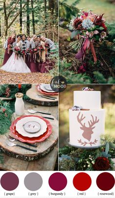 Christmas Woodland Wedding theme { Burgundy + grape + grey + red + rosewood }