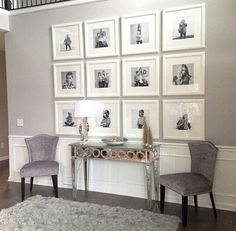 Stunning living room wall gallery design ideas 18 Large house, but how wide? Frames On Wall, White Frames, Wall Collage, Wall Picture Frames, Picture Frame Table, Photo Frame Display, Collage Photo, Photo Displays, Framed Wall Art