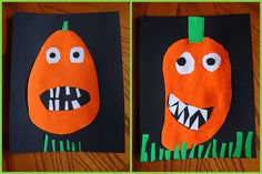 Aren't these goofypumpkin faces the cutest?I've had this pinned on Pinterest for a couple weeks now. They come from artsy_T Flickr stream, and I guess she makes them with her Kindergarten class every year. We read The Bumpy Little Pumpkin byMargery Cuyler last night and after reading the story I knew making goofy pumpkin faces …