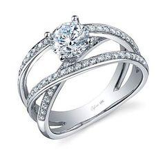 18k white gold and diamond Modern Eternity ring with round diamond center stone, Sylvie Collection