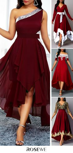 Cheap red Dresses online for sale Fall Fashion Outfits, Mode Outfits, Dress Outfits, Dress Fashion, Women's Fashion, Modest Dresses, Pretty Dresses, Chiffon Dress, Lace Dress