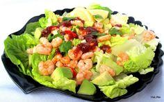 Nejedl recepty: Salt s krevetami a avokdem Avocado Salat, Cobb Salad, Cabbage, Salads, Good Food, Vegan, Vegetables, Health, Recipes
