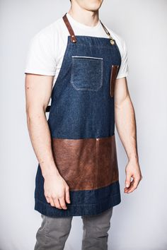 denim leather apron - mens - carpenter - wood - woodworker - madeinusa - handmade - industrial - hipster - barista - artist - mens - unisex