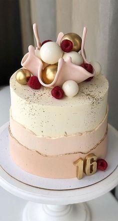 Creative Birthday Cakes, Sweet 16 Birthday Cake, White Birthday Cakes, Elegant Birthday Cakes, Beautiful Birthday Cakes, Cake Designs For Birthday, 16th Birthday Cakes, 50th Birthday Cake Images, Birthday Cake With Flowers