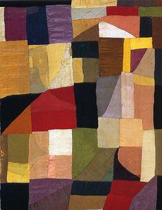 """Sonia Delauney Blanket, 1911, appliquéd fabric, 42 7/8 x 31 7/8"""", Centre Pompidou ORPHISM"""