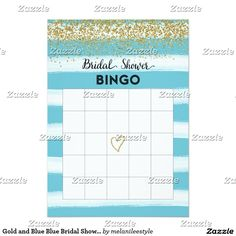 Gold and Blue Blue Bridal Shower Bingo Card