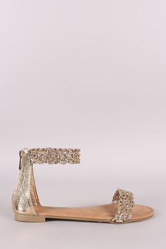 This gorgeous flat sandal features an open toe silhouette with stitched floral design at toe band and ankle strap. Finished with a lightly padded insole, enclos Ankle Strap Flats, Lace Up Sandals, Open Toe Sandals, Strappy Sandals, Flat Sandals, Leather Men, Vegan Leather, Toe Band, Fashion Sandals