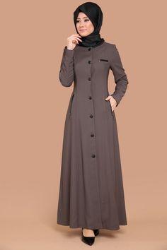 Kapşonlu Pardesü PD8132-S Vizon Modest Fashion Hijab, Modern Hijab Fashion, Muslim Women Fashion, Abaya Fashion, Hijab Chic, Fashion Dresses, Abaya Mode, Mode Hijab, Stylish Dress Designs