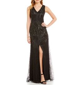 David Meister V-Neck Embroidered Sequin A-Line Front Slit Gown | Dillards