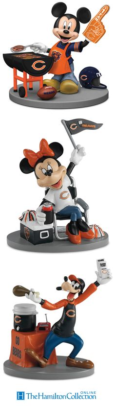 NFL-licensed figurines feature Mickey Mouse and friends showing Chicago Bears pride while tailgating.