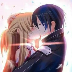 Kirito♡Asuna asuna and kirito kiss -  anime love