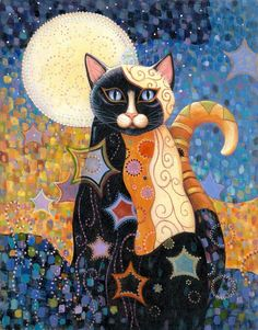 =^. ^= Cat Art =^. ^= ❤ ...Luna...By Artist Marjorie Sarnat...