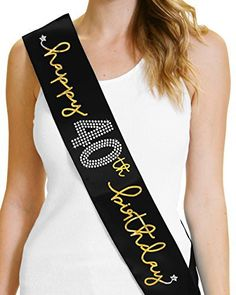 "THE PERFECT SASH FOR THE 40TH BIRTHDAY GIRL A RhinestoneSash exclusive- this stunning sash says ""Happy 40th Birthday"" in your choice of silver, hot pink or gold foil and real rhinestones. This premium satin sash is designed to drape elegantly across the body. The birthday girl will... more details available at https://perfect-gifts.bestselleroutlets.com/gifts-for-women/clothing-shoes-jewelry-gifts-for-women/product-review-for-40th-birthday-party-decorations-happy-40"