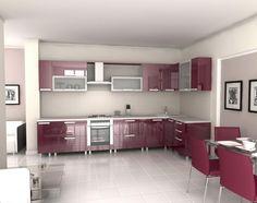 Luxurious Modern Kitchen Designer L Shaped With Cabinet Purple Color / Modern Favorite Modern Kitchen Designer Appear Open And Bright