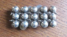 Vintage Mexican Sterling Silver chunky bracelet jewelry 10 linked domed panels 925 Mexico Hecho en Mexico