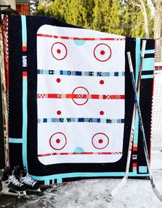 PATTERN: The Good Old Hockey Game Quilt Pattern (PDF format). $9.00, via Etsy.