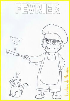 Petit coloriage de f�vrier Pancake Day, Teaching French, Preschool Kindergarten, Crepes, Mardi Gras, Bujo, Coloring Pages, Doodles, Bullet Journal