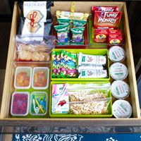 Get Your Kitchen Back-to-School Ready! Create a snack drawer for kids to access & have more independence