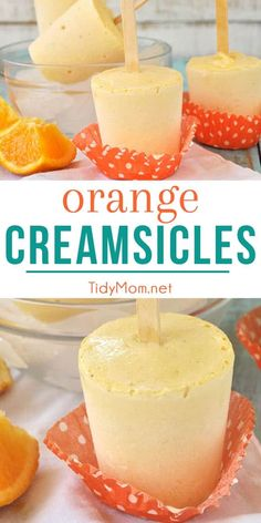 This homemade Orange Creamsicle frozen treat is fun to make and dripping with orange and vanilla, a refreshing classic summer flavor combination. recipe at Köstliche Desserts, Frozen Desserts, Frozen Treats, Delicious Desserts, Health Desserts, Orange Creamsicle, Summer Dessert Recipes, Cold Summer Desserts, Dinner Recipes