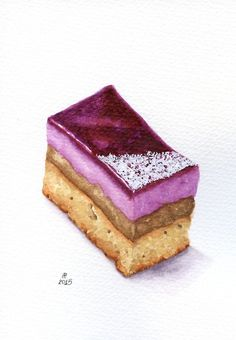 Blueberry Cake Slice ORIGINAL Painting Desset por ForestSpiritArt