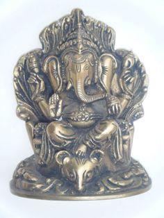 Antique Hindu God GANESHA Traditional Indian Statue Brass Elephant God Rare #860