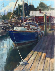 """It was a pleasure to go back to the Hinckley Company Yacht Services marina in Oxford, Maryland, to paint one of these legendary boats for the 2017 Plein Air Easton Competition and Arts Festival. We love any excuse to spend time in this charming town. """"Hinckley Yacht Marina"""" (oil on linen, 14""""x18""""). SOLD"""