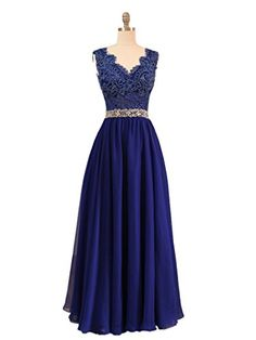 Elegant V-neck Long Chiffon Evening Dress Prom Dress with…