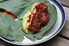 JRSL: California Bean Burger Collard Wrap - yum! Used black bean spicy hummus recipe for this.